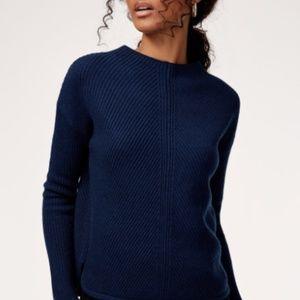 Blue Wool Babaton Mock Neck Sweater